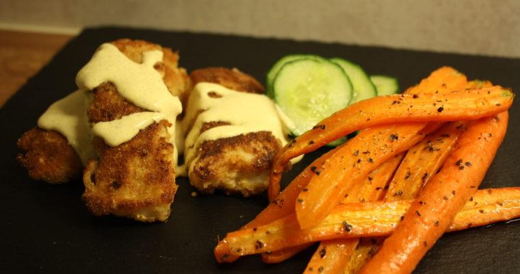Panert torskefilet med ovnsbakte gulrøtter og karridressing