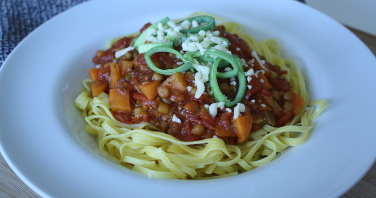 «Pasta Bolognese» med linser